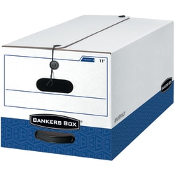 """Bankers Box® Liberty® FastFold® Heavy-Duty Storage Boxes With Locking Lift-Off Lids And Built-In Handles, Letter Size, White/Blue, 60% Recycled, 24"""" x 15"""" x 10"""", Case Of 4"""