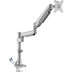 Lorell® Adjustable Single-Monitor Arm, With USB 3.0, Gray