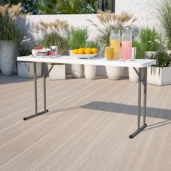 """Flash Furniture Plastic Folding Training Table, 29""""H x 18""""W x 60""""D, Granite White"""