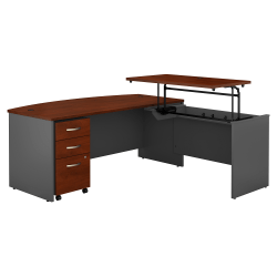 """Bush Business Furniture Components 72""""W 3 Position Bow Front Sit to Stand L Shaped Desk with Mobile File Cabinet, Hansen Cherry/Graphite Gray, Standard Delivery"""