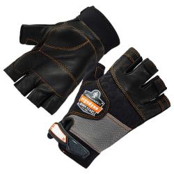 Ergodyne ProFlex 901 Half-Finger Leather Impact Gloves, Small, Black