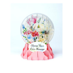 """Up With Paper Everyday Pop-Up Greeting Card, Snow Globe, 5"""" x 3-3/4"""", Watercolor Bouquet"""