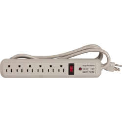 Compucessory 6-Outlet Strip Office Surge Protector - 6 x AC Power - 1080 J - 125 V AC Input - 125 V AC Output