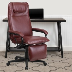 Flash Furniture Bonded LeatherSoft™ High-Back Reclining Swivel Chair, Burgundy/Black