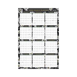 "Blue Sky™ Monthly Laminated Calendar, 24"" x 36"", Baccara Dark, January To December 2022, 116053"