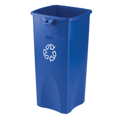 Rubbermaid® Square Recycling Container, Blue/White