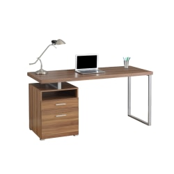 Monarch Specialties Contemporary Computer Desk With 2-Drawers And Open Shelf, Walnut/Silver