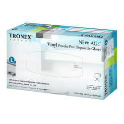 Tronex New Age Disposable Powder-Free Vinyl Gloves, Large, Blue, Pack Of 100
