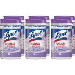 Lysol® Disinfecting Wipes, Early Morning Breeze Scent, 80 Wipes Per Canister, Carton Of 6 Canisters