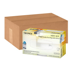 Tronex New Age Disposable Powder-Free Vinyl Gloves, Large, Natural, 100 Gloves Per Pack, Box Of 10 Packs