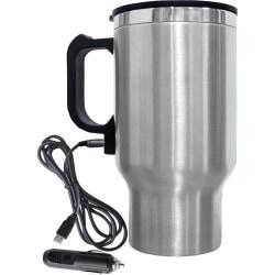 Brentwood Electric Coffee Mug With Wire Car Plug, 16 Oz., Silver