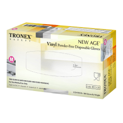 Tronex New Age Disposable Powder-Free Vinyl Gloves, Medium, Natural, Pack Of 100