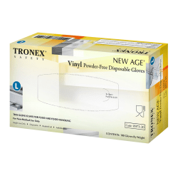 Tronex New Age Disposable Powder-Free Vinyl Gloves, Large, Natural, Pack Of 100