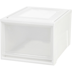 "IRIS Stackable Storage Box Drawer - External Dimensions: 19.6"" Length x 15.8"" Width x 11.5"" Height - 10.85 gal - Stackable - Plastic - Clear, White - For Accessories, Craft Supplies, Toiletries, Clothes - 3 / Carton"