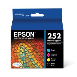 Epson® 252 DuraBrite® Black/Cyan/Magenta/Yellow Ink Cartridges, Pack Of 4, T252120-BCS