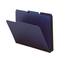 Smead® 1/3-Cut Color Pressboard Tab Folders, Letter Size, 50% Recycled, Dark Blue, Box Of 25