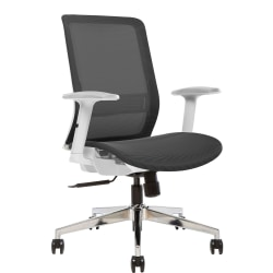 Sinfonia Sing Ergonomic Mesh High-Back Armless Task Chair, White/Black