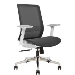 Sinfonia Sing Ergonomic Mesh High-Back Armless Task Chair, White/Black
