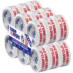 """Tape Logic® Packing List Enclosed Preprinted Carton Sealing Tape, 3"""" Core, 2"""" x 55 Yd., Red/White, Case Of 18"""