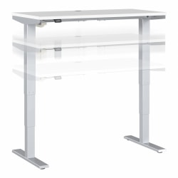 "Move 40 Series by Bush Business Furniture Height-Adjustable Standing Desk, 48"" x 24"", White/Cool Gray Metallic, Standard Delivery"