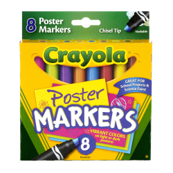 Crayola® Poster Board Markers, Pack Of 8, Assorted Colors