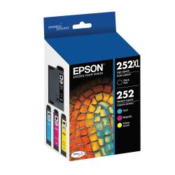 Epson® 252XL DuraBrite® Ultra High-Yield Black And Cyan/Magenta/Yellow Ink Cartridges, Pack Of 4, T252XL-BCS