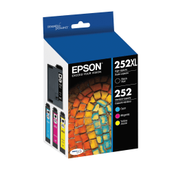 Epson® DuraBrite® Ultra T252XL-BCS High-Yield Black And Standard-Yield Cyan/Magenta/Yellow Ink Cartridges, Pack Of 4