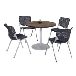 KFI Studios KOOL Round Pedestal Table With 4 Stacking Chairs, Studio Teak/Black