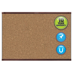 "Quartet® Prestige™ 2 Magnetic Cork Bulletin Board, 96"" x 48"", Aluminum Frame With Mahogany Finish"