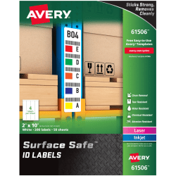 """Avery® Surface Safe ID Labels - Removable Adhesive - 2"""" Width x 10"""" Length - Rectangle - Laser, Inkjet - White - Polyester - 4 / Sheet - 50 Total Sheets - 200 / Pack"""