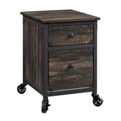 """Sauder® Metal River 24""""D Vertical 1-Drawer Mobile Pedestal File Cabinet, Carbon Oak"""