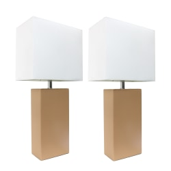 """Elegant Designs Modern Leather Table Lamps, 21""""H, White Shade/Beige Base, Set Of 2 Lamps"""