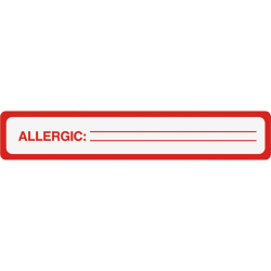 Tabbies® Permanent Allergic To: Allergy Label Roll, TAB40561, Red, Roll Of 175