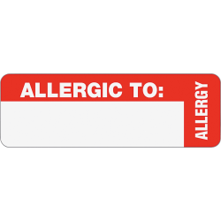 """Tabbies® Permanent """"Allergic To:"""" Medical Wrap Label Roll, TAB40562, Red, Roll Of 500"""
