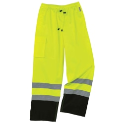 Ergodyne GloWear® 8915BK Class E Polyester Hi-Vis Rain Pants, 4X, Lime/Black