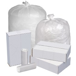 """Highmark™ Linear Low Density Can Liners, 1.5-mil, 60 Gallons, 38"""" x 58"""", Clear, Box Of 100"""