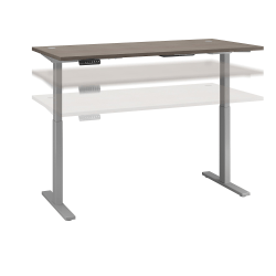 "Bush Business Furniture Move 60 Series 72""W x 30""D Height Adjustable Standing Desk, Cocoa/Cool Gray Metallic, Standard Delivery"
