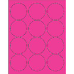 "Office Depot® Brand Labels, LL194PK, Circle, 2 1/2"", Fluorescent Pink, Case Of 1,200"
