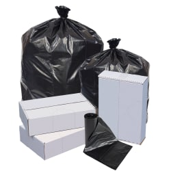 Highmark™ Repro Trash Liners, 1.5 mil, 60 Gallons, 70% Recycled, Black, Box Of 100 Liners