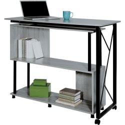 "Safco Mood Rotating Worksurface Standing Desk - Box 2 of 2 - Rectangle Top - 53.25"" Table Top Width x 21.75"" Table Top Depth - 42.25"" Height - Assembly Required - Laminated, Gray - Powder Coated Steel"