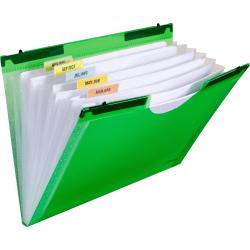 """C-Line Hanging Tabs 7-pocket Expanding File - Letter - 8 1/2"""" x 11"""" Sheet Size - 7 Pocket(s) - Polypropylene - Green - 1 Each"""