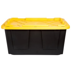 "GreenMade® Poly Storage Tote With Handles/Snap Lid, 30 15/16"" x 20 5/16"" x 14 9/16"", Black"