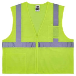 Ergodyne GloWear® Safety Vest, Treated Polyester Hi-Vis 8256Z, Class 2, Large/X-Large, Lime