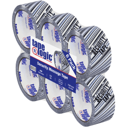 """Tape Logic® Security Tape, Security Tape, 2"""" x 110 Yd., Black/White, Case Of 6"""