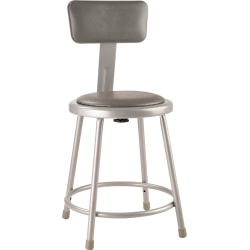 """National Public Seating Vinyl-Padded Stool With Back, 18""""H, Gray"""