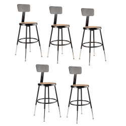 "National Public Seating Adjustable Hardboard Stools With Backs, 19""-27""H, Black, Set of 5"