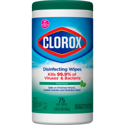 Clorox Disinfecting Wipes, Bleach-Free Cleaning Wipes - Wipe - Fresh Scent - 75 / Can - 480 / Pallet - White