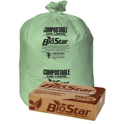 "Pitt Plastics BioStar 1-mil Compostable Can Liners, 33 Gallons, 33"" x 39"", Green, 10 Bags Per Roll, Case Of 10 Rolls"