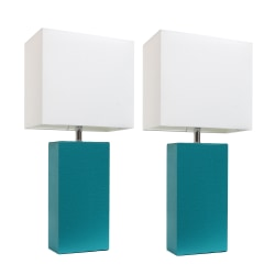 """Elegant Designs Modern Leather Table Lamps, 21""""H, White Shade/Teal Base, Set Of 2 Lamps"""