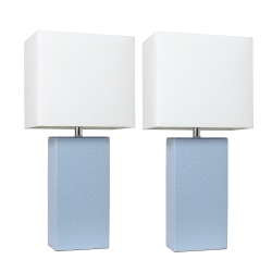 "Elegant Designs Modern Leather Table Lamps, 21""H, White Shade/Periwinkle Base, Set Of 2 Lamps"